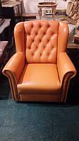 Мягкое кожаное кресло для отдыха. Кресло б\у из Европы