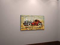 Картина винтажная на холсте старый автомобиль