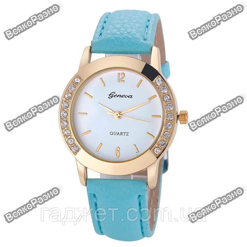 Женские часы Geneva Relojes Mujer голубого цвета.