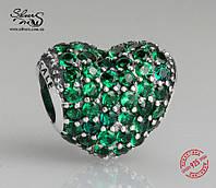 """Серебряная подвеска-шарм Пандора (Pandora) """"Зеленое сердце Паве"""" для браслета"""