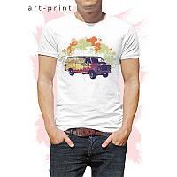 Футболка белая мужская с рисунком Truck