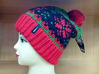 Bente, TM Loman молодежная женская шапка с отворотом и  бубоном, полушерстяная, цвет красный, фото 1