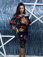 Женское цветочное платье с рукавом МБХ 8834