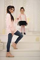 Платье детское из двунитки и фатина P1594
