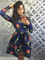 Женское цветочное платье с рукавом МБХ  8889