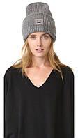 Модная женская вязанная шапка Acne Studios Pansy со смайлом серого цвета