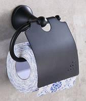 Настенный (подвесной) черный держатель для туалетной бумаги 0262
