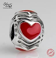 """Серебряная подвеска-шарм Пандора (Pandora) """"Красные сердца"""" для браслета"""