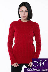 Вязаный женский джемпер красного цвета (р. 42-44, 46-48, 50-52) арт.JW341
