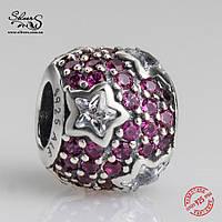 """Серебряная подвеска-шарм Пандора (Pandora) """"Красные звезды Паве"""" для браслета"""