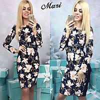Женское цветочное платье с рукавом МСХ 8832