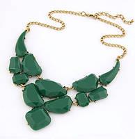 Ожерелье Падение зеленое/бижутерия/цвет цепочки золото