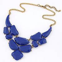 Ожерелье Падение синее/бижутерия/цвет цепочки золото