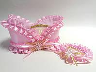 Свадебная корзинка для шампанского розовая