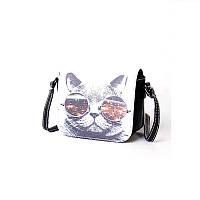 Стильная женская мини сумочка с котом в очках