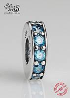 """Серебряная подвеска-шарм Пандора (Pandora) """"Голубое колечко"""" для браслета"""