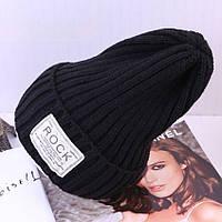 Модная женская трикотажная шапка ROCK черный цвета