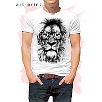 Мужская футболка хлопок белая с принтом Лев