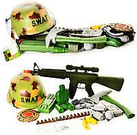 Набор военного 66686 (48шт) автомат, каска, наручники, свисток, в сетке, 52-22см