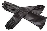 Перчатки длинные черные кожаные
