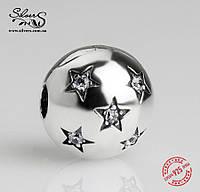 """Серебряная подвеска-клипса Пандора (Pandora) """"Звездная ночь"""" для браслета"""