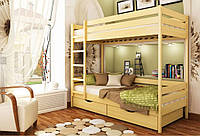 Кровать Дуэт тм Эстелла 90х190/200, №102 Бук натуральный (Массив), фасад+ящики из ДСП (Массив)