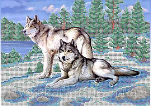 Схема для вышивки бисером Волки на снегу.