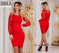 Платье красное, р.42.44.46.48 код 1075Г