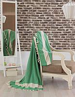 Покрывало хлопок с кисточками Eponj Home Hasir A.Yesil светло зеленое  200х240