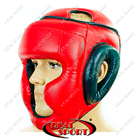 Шлем боксерский с полной защитой Стрейч Lev Винил, Маска, размер M, L. Красный
