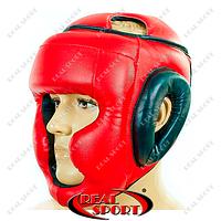 Шлем боксерский с полной защитой Маска Лев Стрейч LV-4294-R (р-р M-L, красный)
