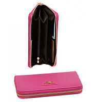 Женский кожаный кошелек, клатч, портмоне Bretton из натуральной кожи. Цвет розовый