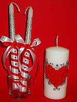 """Свадебные свечи """"Сердце из роз"""""""