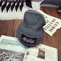 Модная женская трикотажная шапка NEW YORK серого цвета