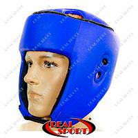Шлем боксерский открытый Кожзам Лев, размер S, M, L. Синий