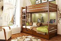 Кровать Дуэт тм Эстелла 90х190/200, №103 Светлый орех (Бук Массив), фасад+ящики из дерева (Массив)