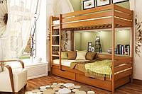 Кровать Дуэт тм Эстелла 90х190/200, №105 Ольха (Бук Массив), фасад+ящики из дерева (Массив)
