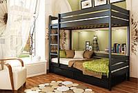 Кровать Дуэт тм Эстелла 90х190/200, №106 Венге (Бук Массив), фасад+ящики из дерева (Массив)