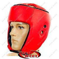 Шлем боксерский открытый Кожзам Лев, размер S, M, L. Красный