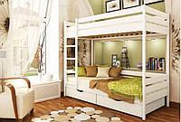 Кровать Дуэт тм Эстелла 90х190/200, №107 Белый Акрил (Бук Массив), фасад+ящики из дерева (Массив)