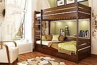 Кровать Дуэт тм Эстелла 90х190/200, №108 Каштан (Бук Массив), фасад+ящики из дерева (Массив)