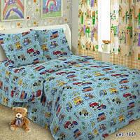 Ткань для детского постельного белья,поплин Машинки на дорогах
