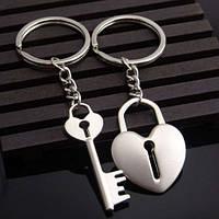 Два брелка для влюблённых - Сердце с отверстием для ключа и брелок-ключ от сердца SKU0000569