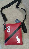 Сумка Polo красная с черным молодежная спортивного стиля