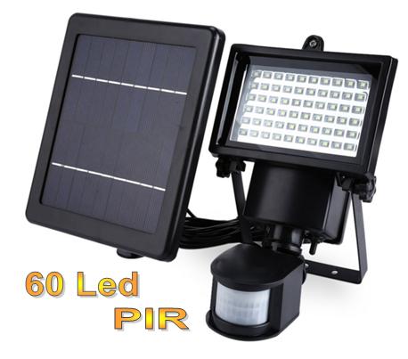 Прожектор на солнечной батарее с датчиком движения 60 LED для наружного и внутреннего освещения