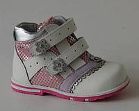 Calorie арт.А182-30В белый     Демисезонные ботинки для девочек.