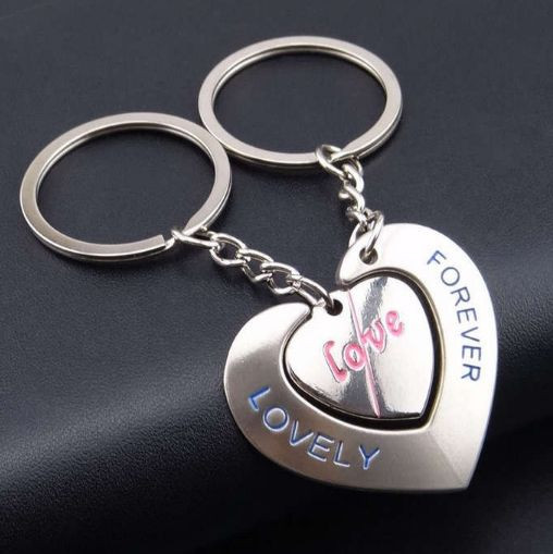 Два брелока для закоханих - Велике серце з отвором для другого брелока у вигляді маленького серця SKU0000572