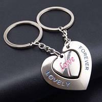 Два брелка для влюблённых - Большое сердце с отверстием для второго брелка в виде маленького сердца SKU0000572, фото 1