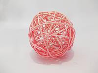 Шар плетенный из ротанга 10 см розовый, фото 1