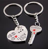 Два брелока для закоханих - Серце з місцем горизонтальним для ключа і брелок-ключ SKU0000573